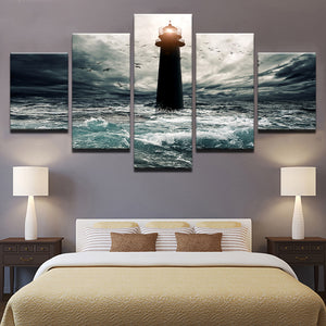 5 Panel Victory Ocean Lighthouse Seascape Storm Wall Art Print : cheap canvas prints wall paintings pictures