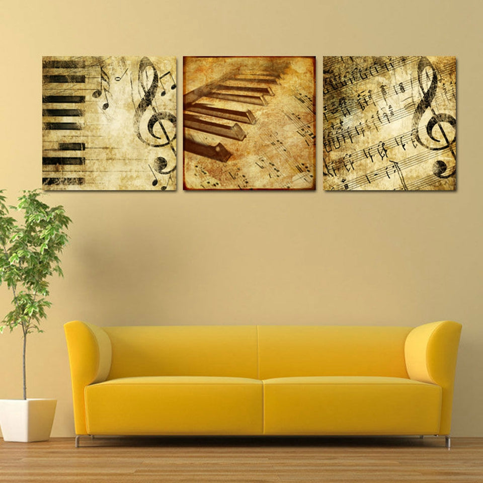 3 Panel Classical Piano Music Notes Wall Art Canvas Panel Print ...