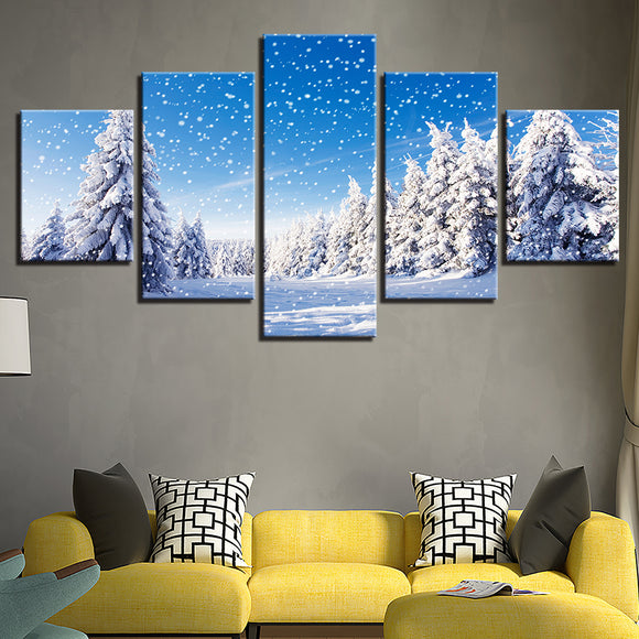 Winter Snow Scene Poster Christmas Pine Trees Wall Art on Canvas - ASH Wall Decor - Wall Art Canvas Panel Print Painting
