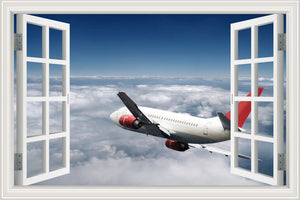 3D Wall Jet Airplane Sticker Decal Vinyl Wall Art Mural Large Window View Blue Sky : cheap canvas prints wall paintings pictures
