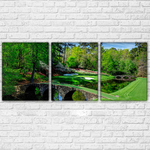 Augusta Golf Course - Masters Golfing 3 Panel Wall Art Canvas Panel Print : cheap canvas prints wall paintings pictures