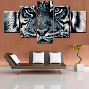 5 Panel Animal Black White Tiger Living Room Cuadros Modular Canvas Pictures : cheap canvas prints wall paintings pictures
