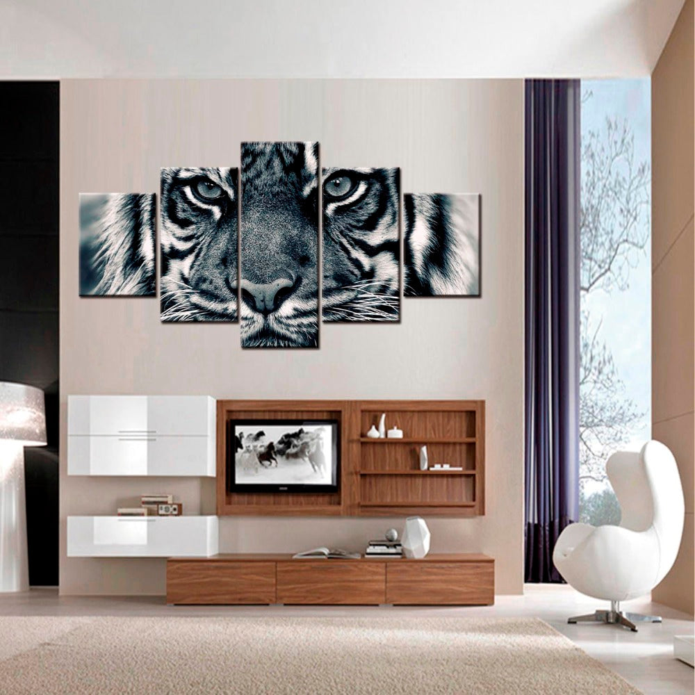 ... 5 Panel Animal Black White Tiger Living Room Cuadros Modular Canvas  Pictures   ASH Wall Decor ...