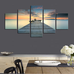 5 Panel Dock Deck Lake Sea at Sunset Wall Art Canvas Panel Print Framed UNframed : cheap canvas prints wall paintings pictures