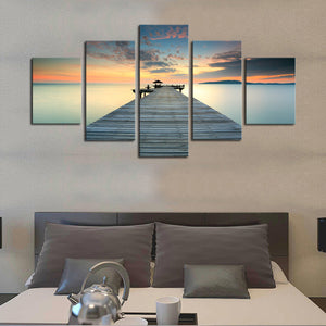 5 Panel Dock Deck Lake Sea at Sunset Wall Art Canvas Panel Print Framed UNframed - ASH Wall Decor - Wall Art Canvas Panel Print Painting