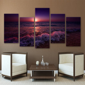 5 Panel Greece Ionian Sea Evening Sunset Sky Living Room Canvas Wall Art : cheap canvas prints wall paintings pictures