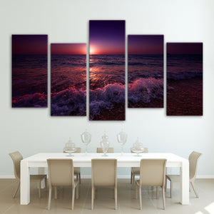 5 Panel Greece Ionian Sea Evening Sunset Sky Living Room Canvas Wall Art - ASH Wall Decor - Wall Art Canvas Panel Print Painting