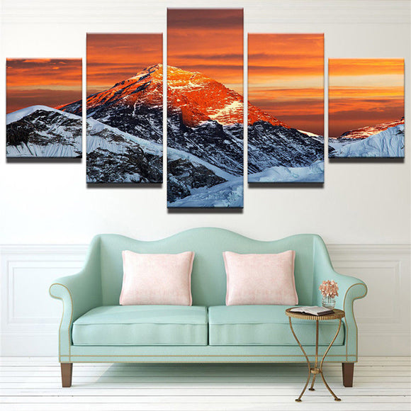 5 Panel Snow Capped Mountain Winter Scene at Sunset Wall Art Modular Print