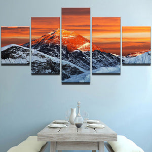 5 Panel Snow Capped Mountain Winter Scene at Sunset Wall Art Modular Print : cheap canvas prints wall paintings pictures
