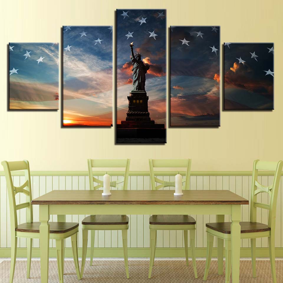 Statue Of Liberty New York City National Flag Panel Canvas Wall ...