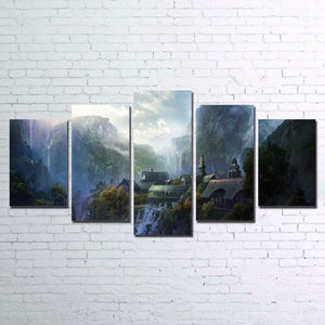 Mountain Waterfall Lord Of The Rings  5 Panel Print for Living Room  Framed UNfr : cheap canvas prints wall paintings pictures