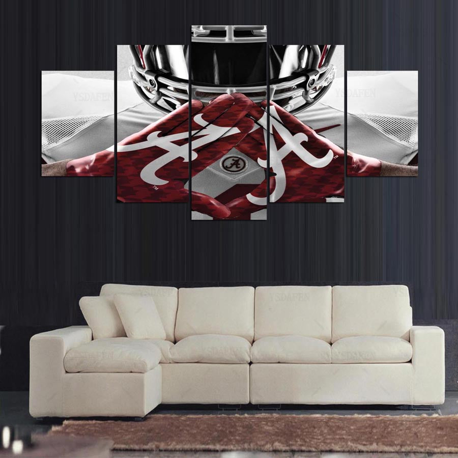 alabama crimson tide college football team print canvas art wall