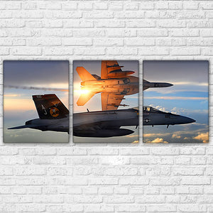 Air Force Military Jet Aircraft Planes Flying Sunset Sky Wall Art Canvas Panel : cheap canvas prints wall paintings pictures