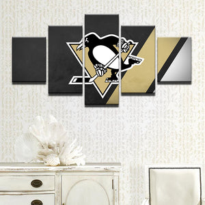 5 Panel Ice Hockey Sports Pittsburg Penguins Panel Wall Art Canvas Pictures : cheap canvas prints wall paintings pictures