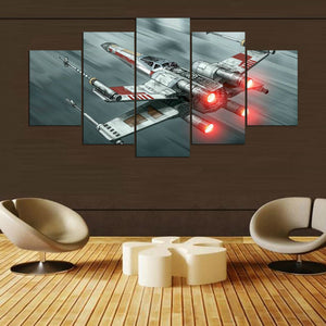 5 Pcs Movie Star Wars X Wing Theme Modular Picture Home Decor Canvas