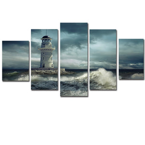 5 Panel Lighthouse Frame Wall Rolling Wave Sea Ocean Seascape Wall Art Panel Print - ASH Wall Decor - Wall Art Canvas Panel Print Painting
