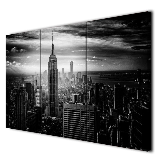 3 Panel Black and White Canvas Print New York City Empire State Building