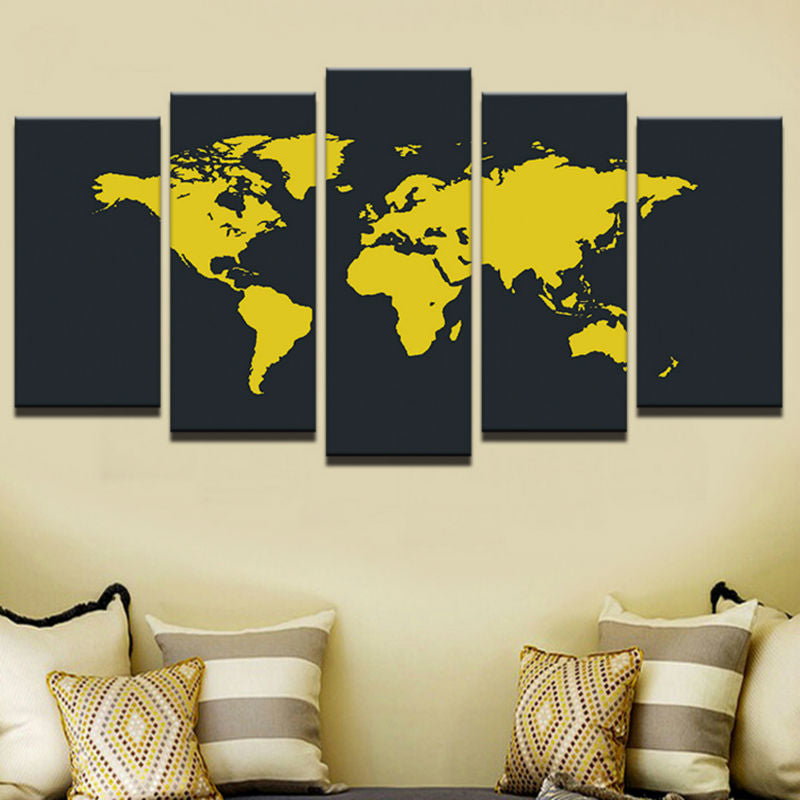 5 Panel Print Yellow World Map Wall Art Panels on Canvas Framed ...