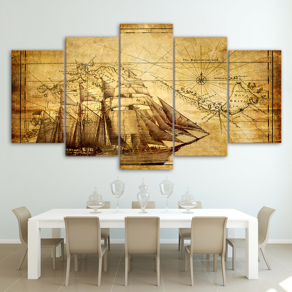 World Map Currency Money Wall Art Panel Print on Canvas Home Wall ...