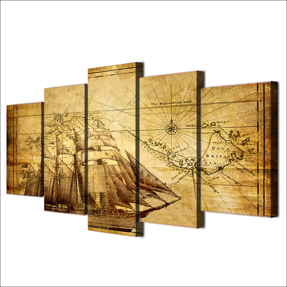 Old World Map with Ship For Living Room Office Canvas Panel Wall Art ...