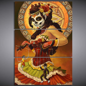 3 Panel Day Of The Dead Face Tableau Wall Art Canvas Cuadros Modern Picture Print - ASH Wall Decor - Wall Art Canvas Panel Print Painting