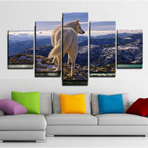 5 Panel Lone Wolf Mountain Ocean Scene Wall Art Canvas Panel Print : cheap canvas prints wall paintings pictures