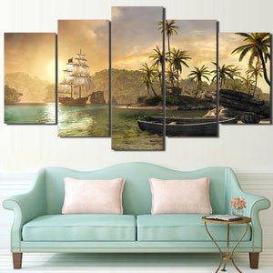 5 Panel Ship Row Boat And Island Palm Tree Sunset Mountain Wall Art Canvas Panel : cheap canvas prints wall paintings pictures
