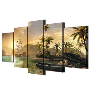 5 Panel Ship Row Boat And Island Palm Tree Sunset Mountain Wall Art Canvas Panel Print - ASH Wall Decor - Wall Art Canvas Panel Print Painting