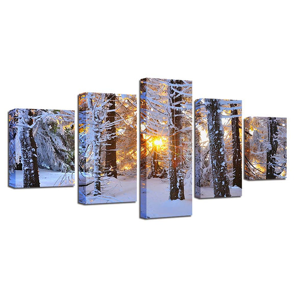 Sunrise Forest Woods Snow Snowfield Winter Scene Wall Art Panel Canvas Print - ASH Wall Decor - Wall Art Canvas Panel Print Painting
