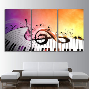 3 Panel Piano Keys Music Notes Abstract Musical Instrument Wall Art Panel Print : cheap canvas prints wall paintings pictures