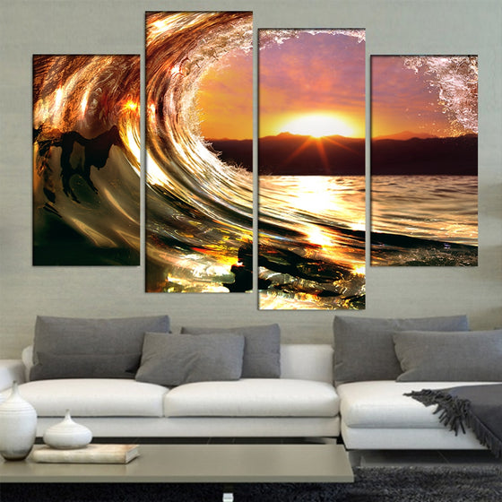 Rolling Sea Ocean Wave Sunset Wall Art Canvas Panel Print Framed UNframed - ASH Wall Decor - Wall Art Canvas Panel Print Painting