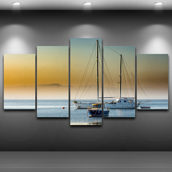 5 Panel Sailboat Ocaean Sea Fog For Living Room Modern HD Printed Panel Print - ASH Wall Decor - Wall Art Canvas Panel Print Painting