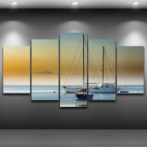 5 Panel Sailboat Ocaean Sea Fog For Living Room Modern HD Printed Panel Print : cheap canvas prints wall paintings pictures