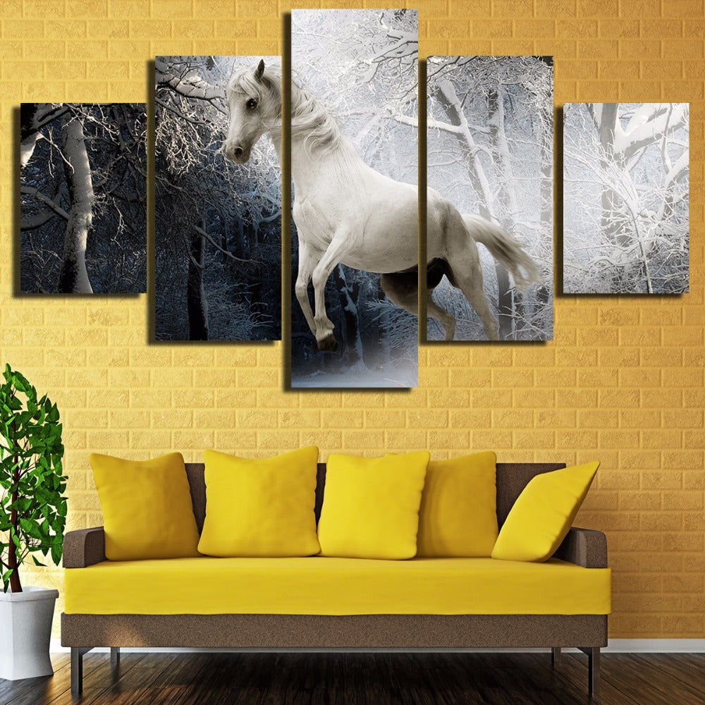 Galloping Horse Winter Night Trees Forest 5 Panel Wall Art Canvas ...