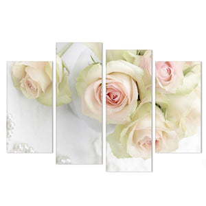 4 Panel Beautiful Pink Roses Flower Floral Print Painting Modern Canvas - ASH Wall Decor - Wall Art Canvas Panel Print Painting