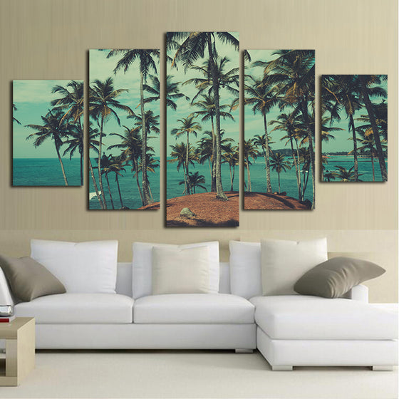 Palm Trees Beach Ocean Sea Wall Art Canvas Panel Print Framed UNframed - ASH Wall Decor - Wall Art Canvas Panel Print Painting