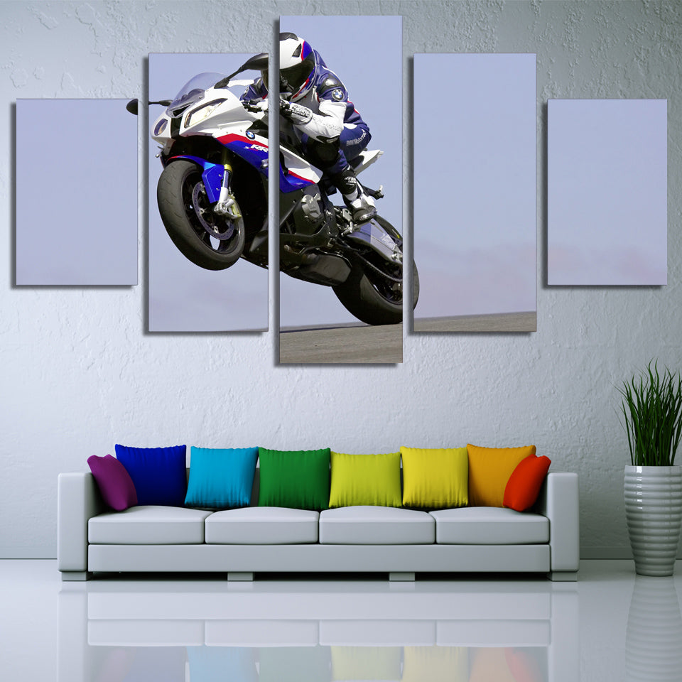 BMW S1000RR Sportbike Racing Wheelie Motorcycle Wall Art Panel Canvas Print