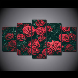 5 Panel Canvas Art Flower Roses  Wall Picture for Living Room Framed UNframed - ASH Wall Decor - Wall Art Canvas Panel Print Painting
