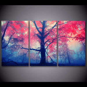 3 Pieces Red Maple Tree in Woods Natural Scenery Wall Art Panel Print On Canvas : cheap canvas prints wall paintings pictures