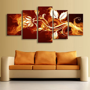 5 Panel Fire Flowers Picture Framework Living Room Canvas Panel Wall Art - ASH Wall Decor - Wall Art Canvas Panel Print Painting