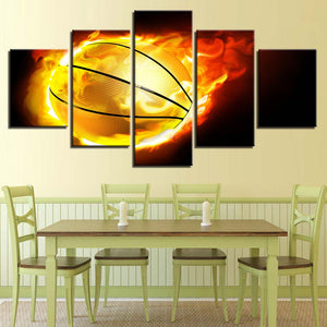 5 Panel Flaming Basketball Flame For Living Room Modern Panel Print  Decoration : cheap canvas prints wall paintings pictures