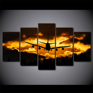 Jet Airplane at Sunset Canvas Wall Print Pictures for Living Room Home : cheap canvas prints wall paintings pictures