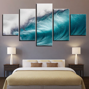 5 Pieces Large Rolling Wave Canvas Panel Wall Art Picture Ocean Sea Wave Seascape