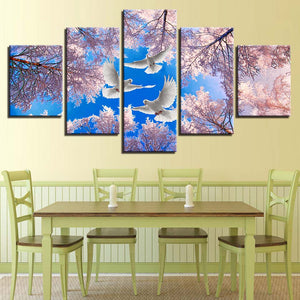 5 Panel Dove Bird Cherry Blossom Wall Art Canvas Panel Print For Living Room : cheap canvas prints wall paintings pictures