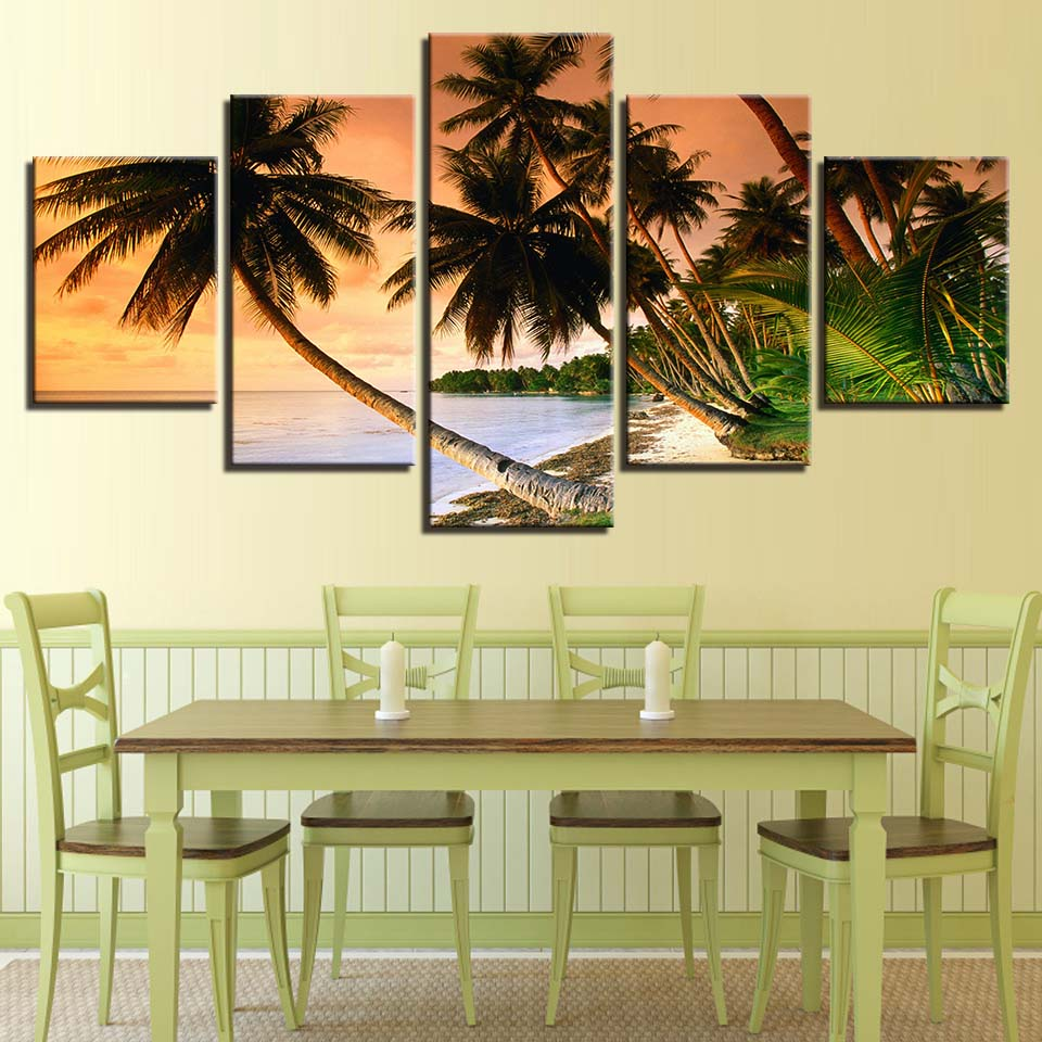 5 Panel Coconut Palm Trees Sea Ocean Beach View Wall Art Picture For ...