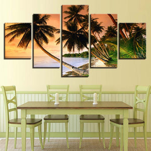 5 Panel Coconut Palm Trees Sea Ocean Beach View Wall Art Picture For Living Room - ASH Wall Decor - Wall Art Canvas Panel Print Painting