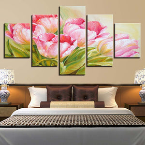 5 Panel Pink Flowers Living Room Floral HD Printed Painting On Canvas Cuadros : cheap canvas prints wall paintings pictures