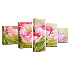 5 Panel Pink Flowers Living Room Floral HD Printed Painting On Canvas Cuadros - ASH Wall Decor - Wall Art Canvas Panel Print Painting
