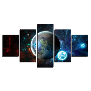 5 Panel Earth Universe Wall Art Panel Print Modern Canvas Framed Unframed : cheap canvas prints wall paintings pictures