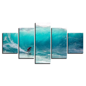 5 Panel Ocean Big Wave Surfing Panel Wall Art Print Framed UNFramed - ASH Wall Decor - Wall Art Canvas Panel Print Painting
